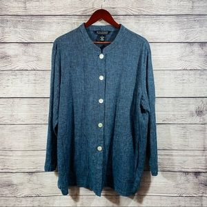 Dialogue Long Sleeve Blue Linen Cotton Shirt SZ 1X